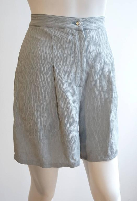CLAUDE MONTANA Linen Tunic with Matching Crepe Shorts Ensemble 5
