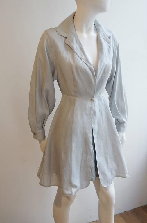 CLAUDE MONTANA Linen Tunic with Matching Crepe Shorts Ensemble 2