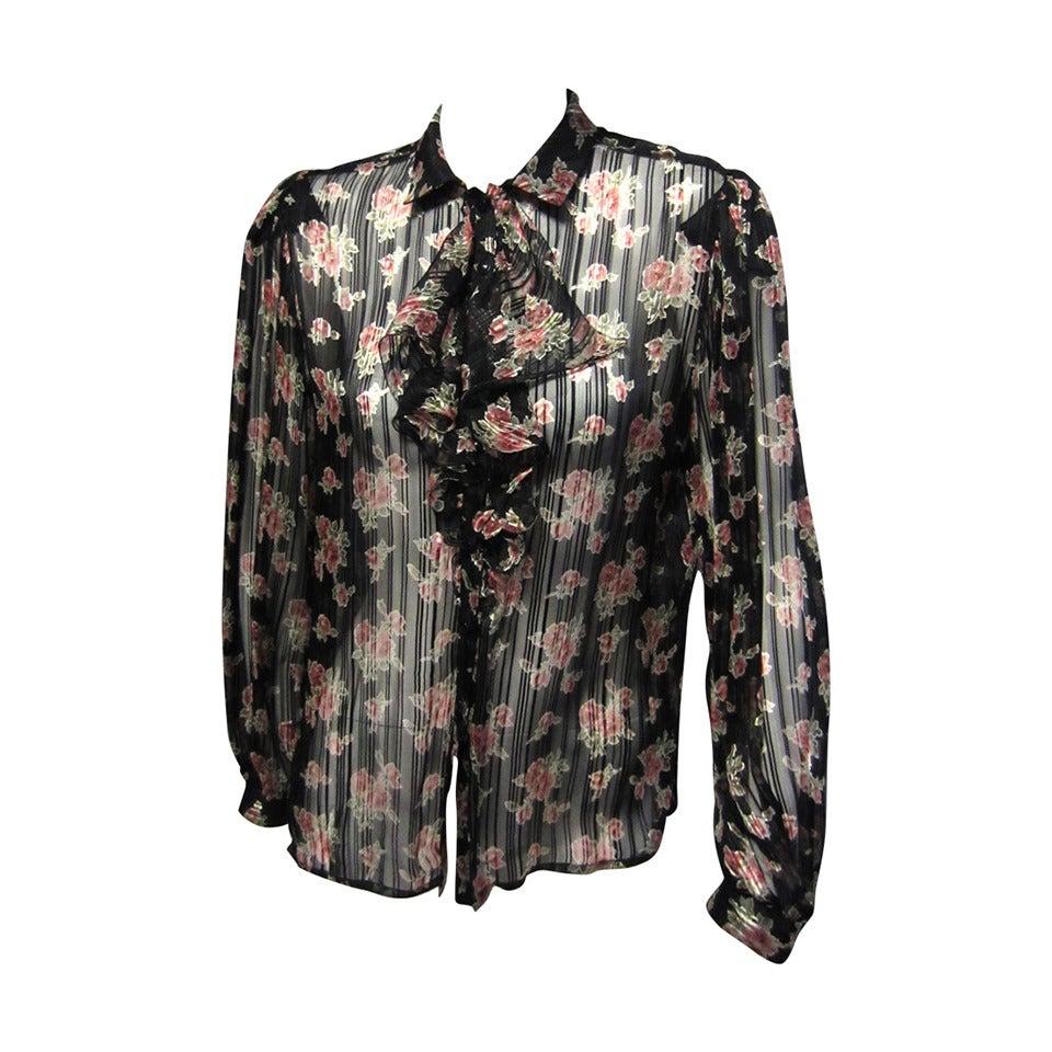 EMANUEL UNGARO Silk Floral Print Blouse