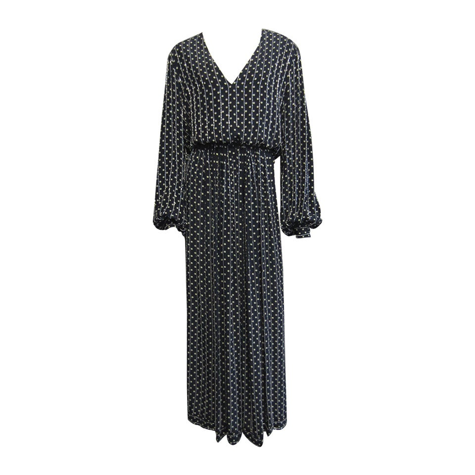 BILL BLASS Navy & Grey Polka Dot Beaded Long Sleeve Gown For Sale