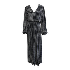 BILL BLASS Navy & Grey Polka Dot Beaded Long Sleeve Gown