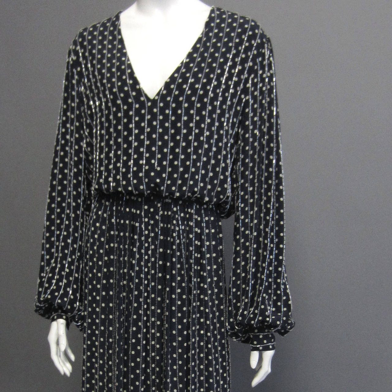 Black BILL BLASS Navy & Grey Polka Dot Beaded Long Sleeve Gown For Sale