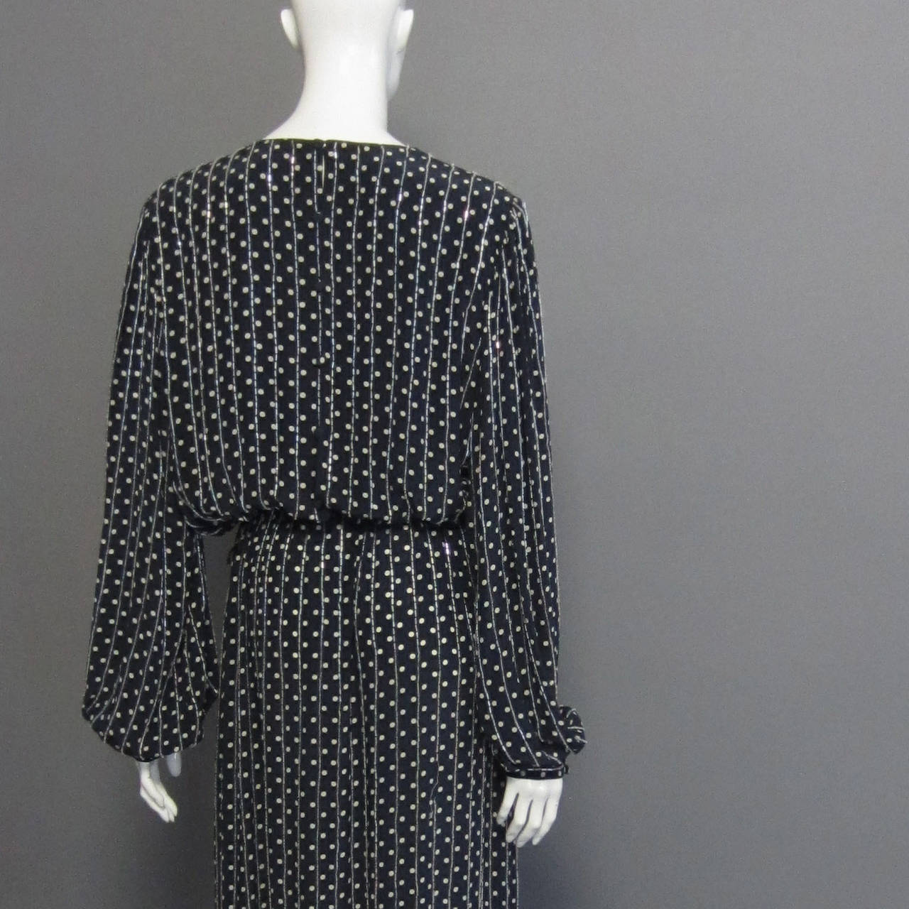 BILL BLASS Navy & Grey Polka Dot Beaded Long Sleeve Gown For Sale 1