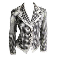 CHRISTIAN DIOR Houndstooth Leather Jacket