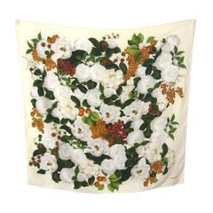 CHANEL Silk Floral Print Scarf