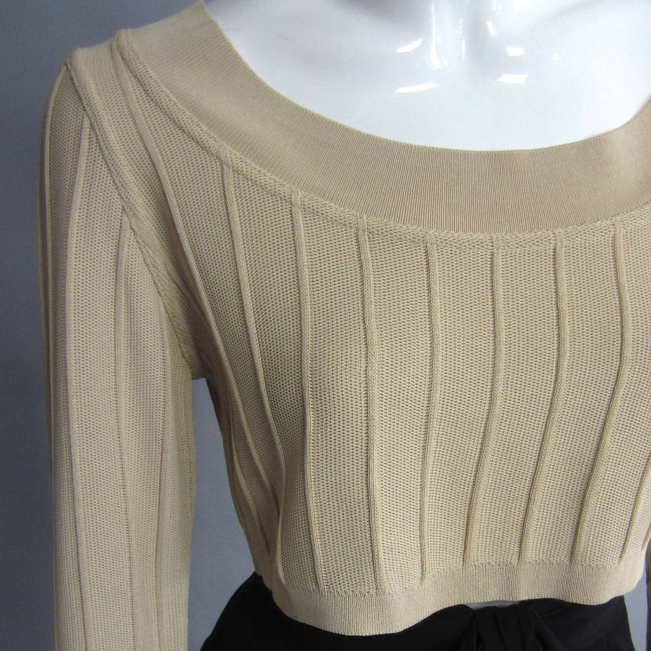 Brown ALAIA Crop Top with Seam Detailing For Sale