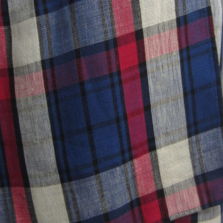 VALENTINO Boutique Plaid Linen Faux Wrap Skirt 3
