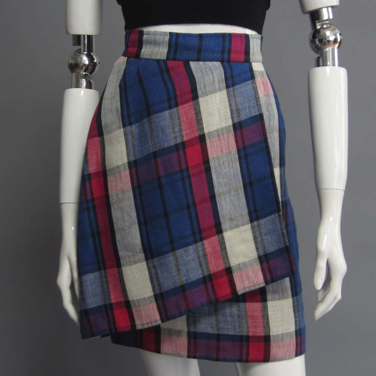 VALENTINO Boutique Plaid Linen Faux Wrap Skirt 5