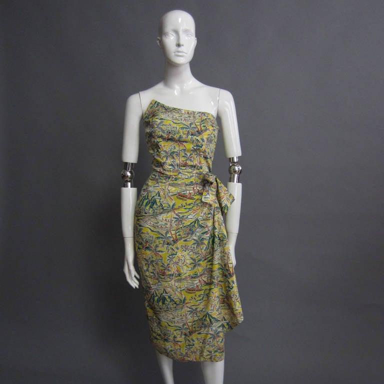 1950s hawaiian print cocktail dress at 1stdibs
