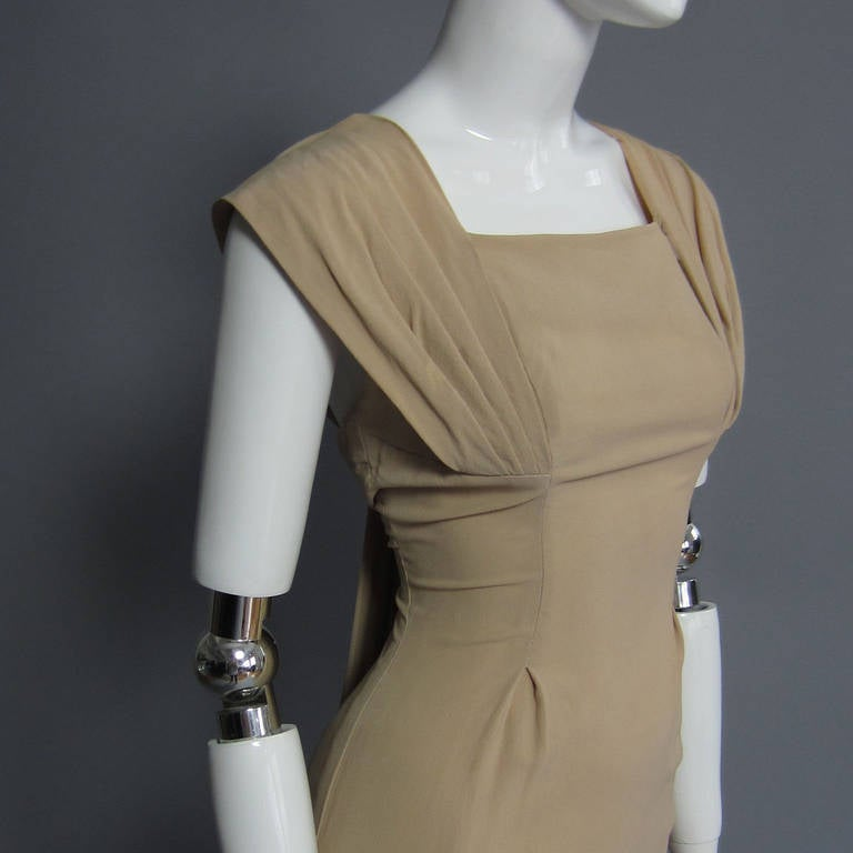 Brown 1940s Silk Crepe Cocktail Dress For Sale