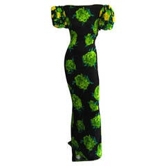JAMES GALANOS Floral Print Gown with Pouf Sleeve Detail