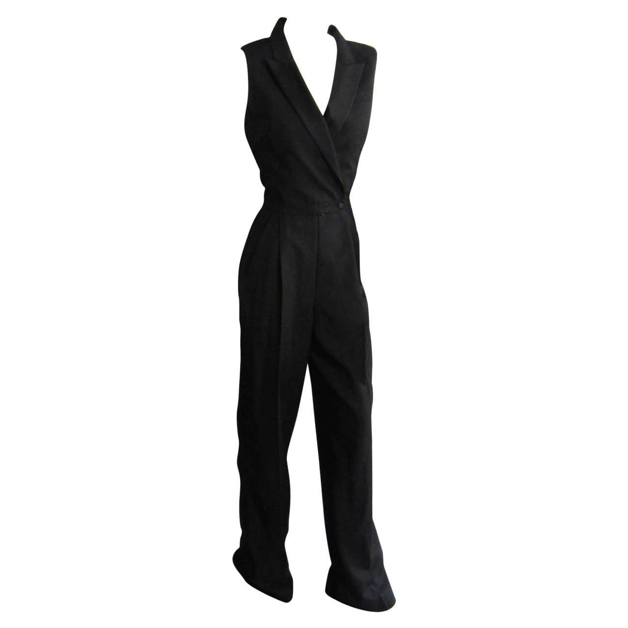 2000s ALEXANDER McQUEEN Tuxedo Jumpsuit For Sale