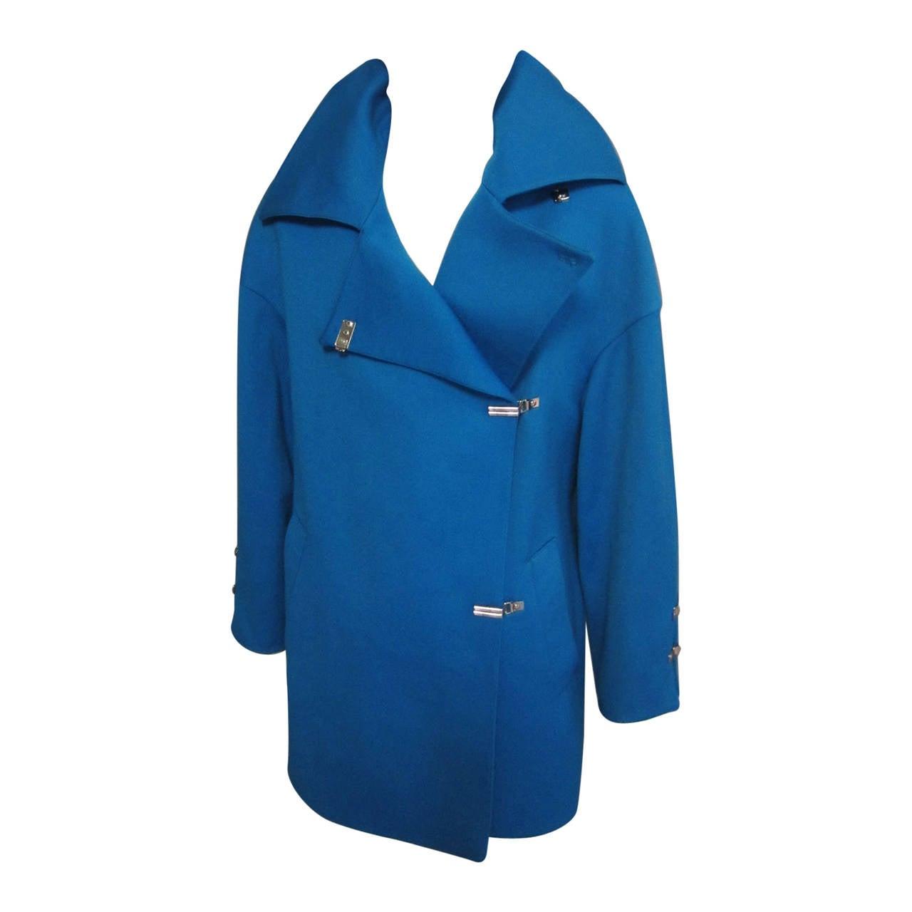 1980s CLAUDE MONTANA Teal Coat