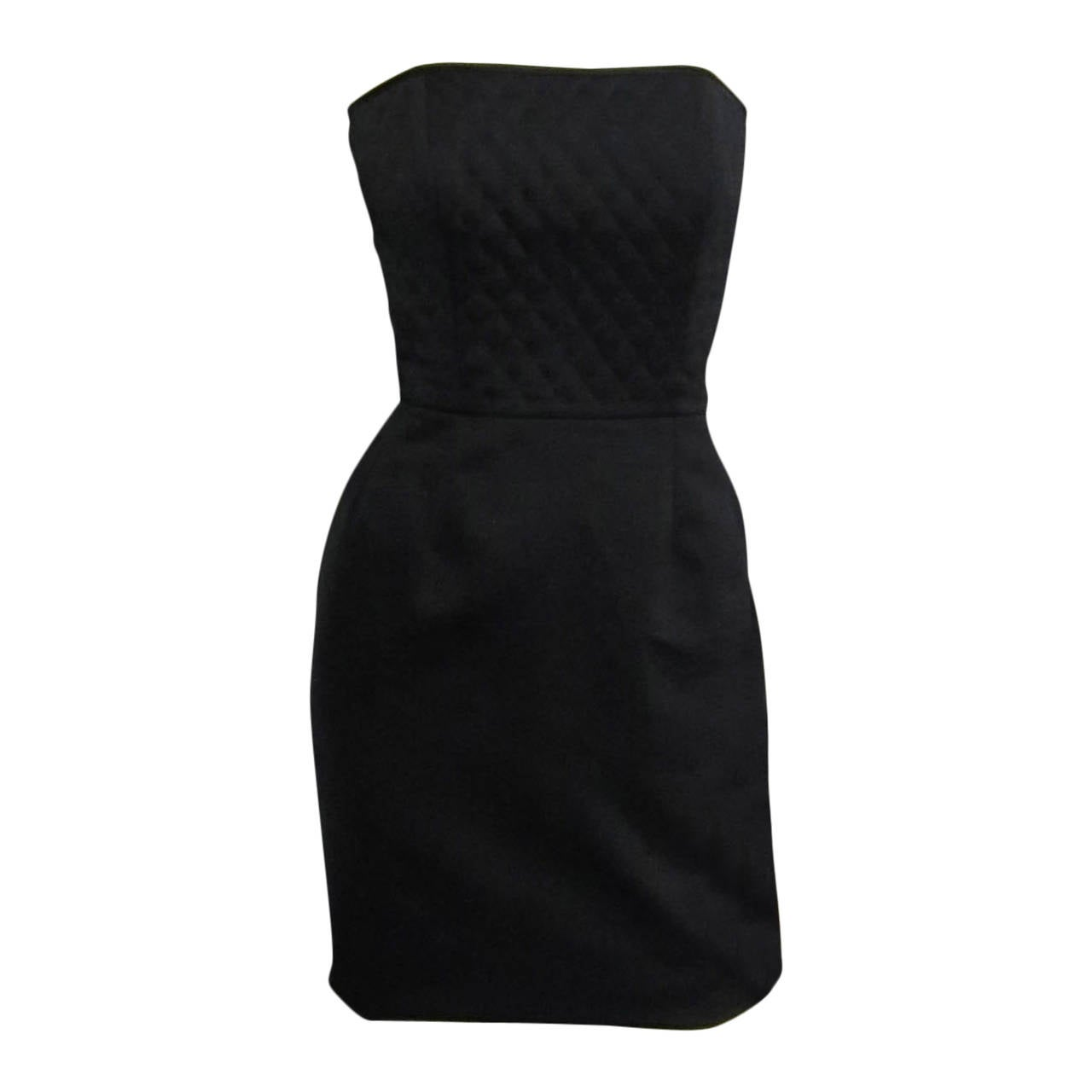 1980s VICTOR COSTA Quilted Little Black Dress For Sale