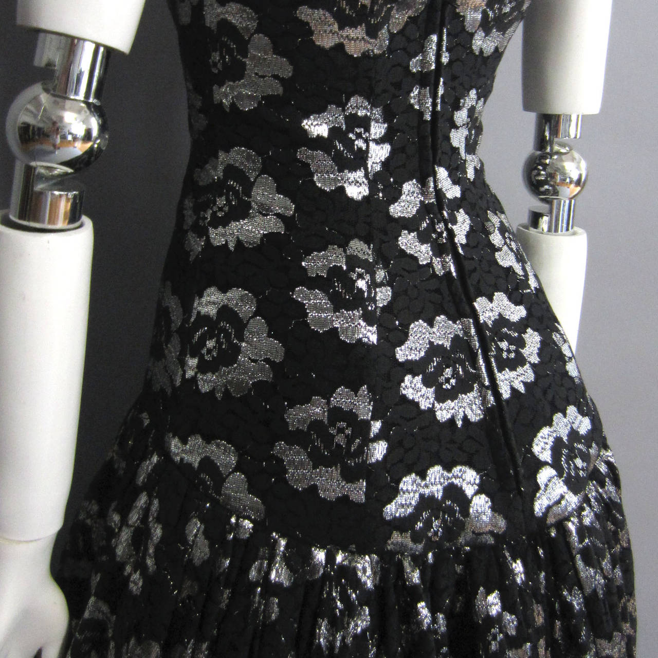 Black 1980s LILLIE RUBIN Silver Lame Floral Lace Dress For Sale