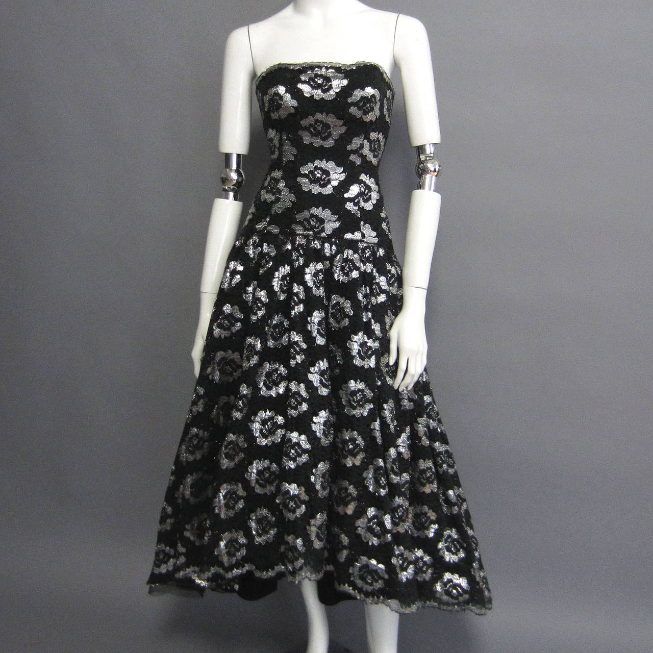 Women's 1980s LILLIE RUBIN Silver Lame Floral Lace Dress For Sale