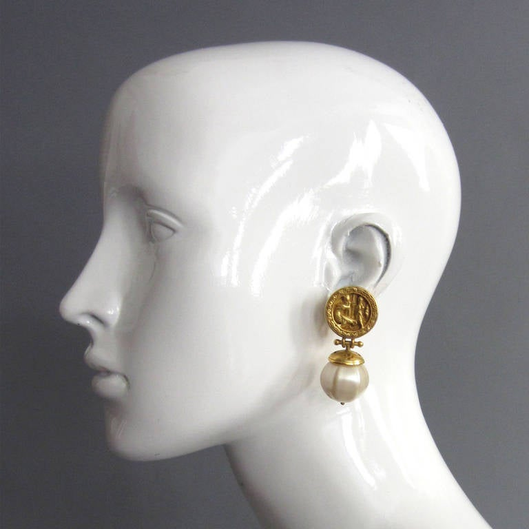 Ann And Catherine Prevost Gold Pearl Drop Earrings At 1stdibs