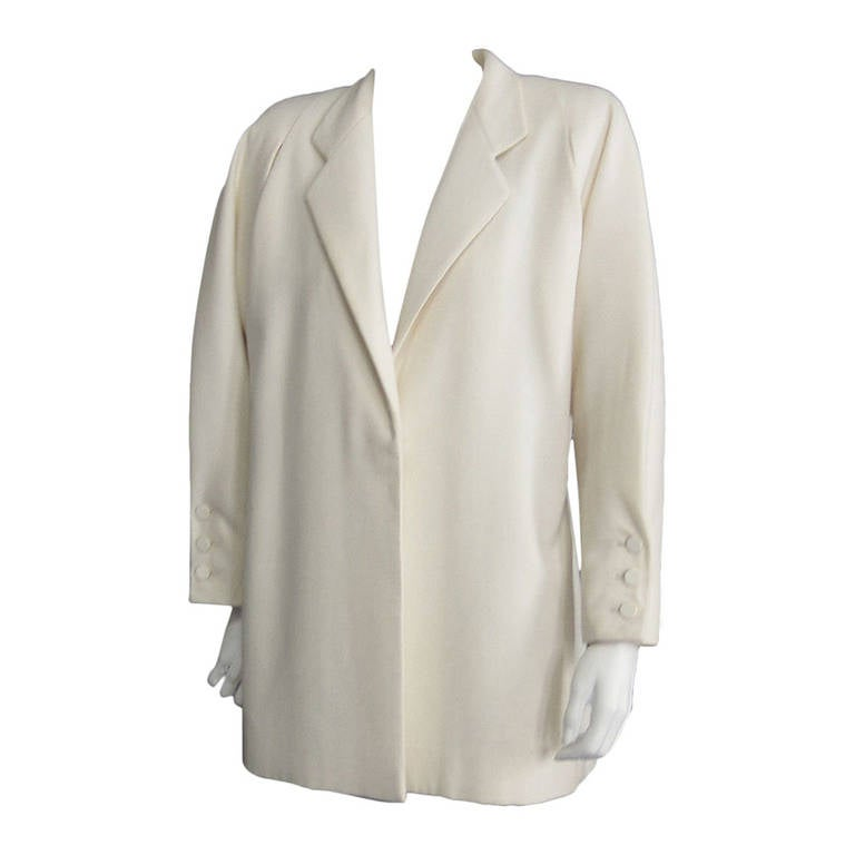 GALANOS Off White Wool Coat