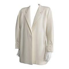 GALANOS Off White Wool Coat