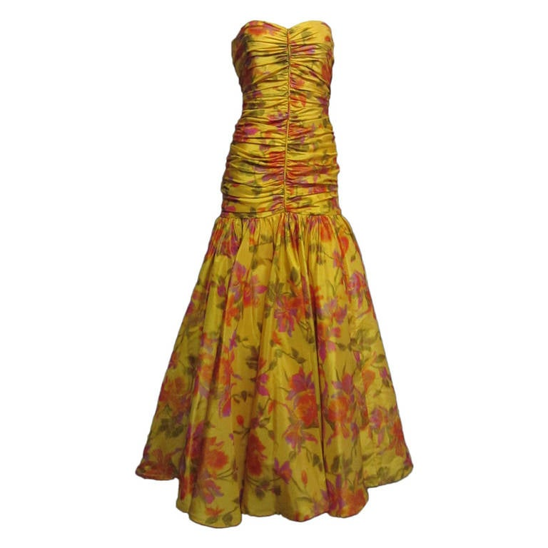 BRUCE OLDFIELD Floral Print Strapless Gown