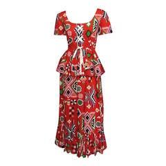 OSCAR DE LA RENTA Printed Cotton Maxi Dress with Peplum Detail