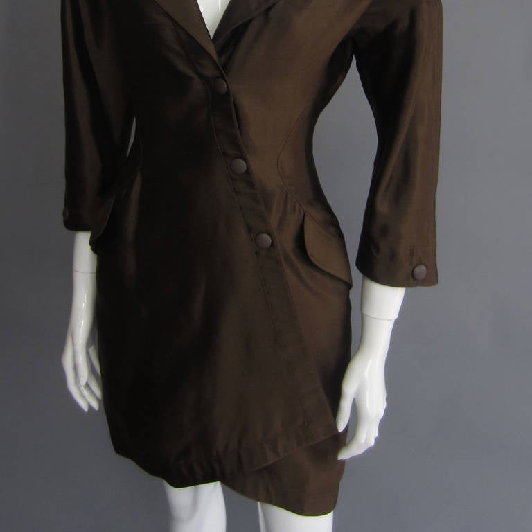 THIERRY MUGLER 1988 Spring/Summer RTW Silk Dress In Excellent Condition For Sale In New York, NY