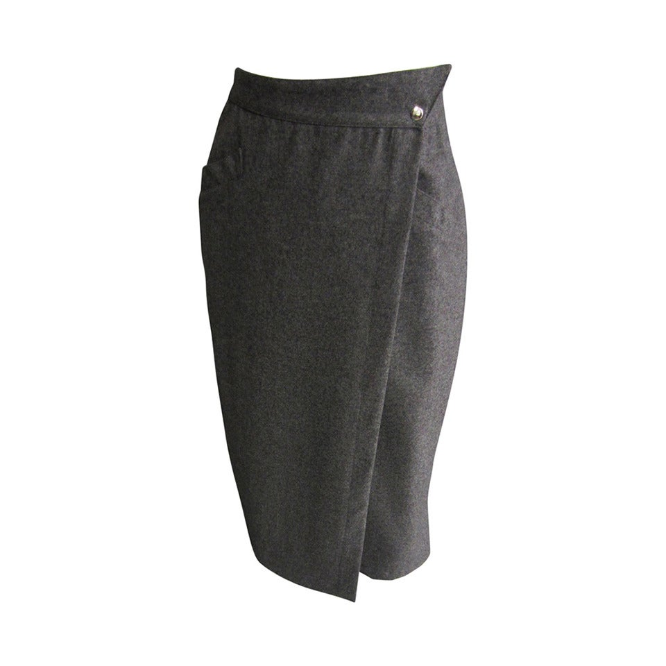 THIERRY MUGLER Grey Wool Wrap Style Pencil Skirt For Sale at 1stdibs
