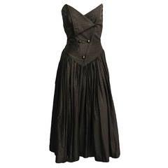 PIERRE BALMAIN Houndstooth Strapless Cocktail Dress