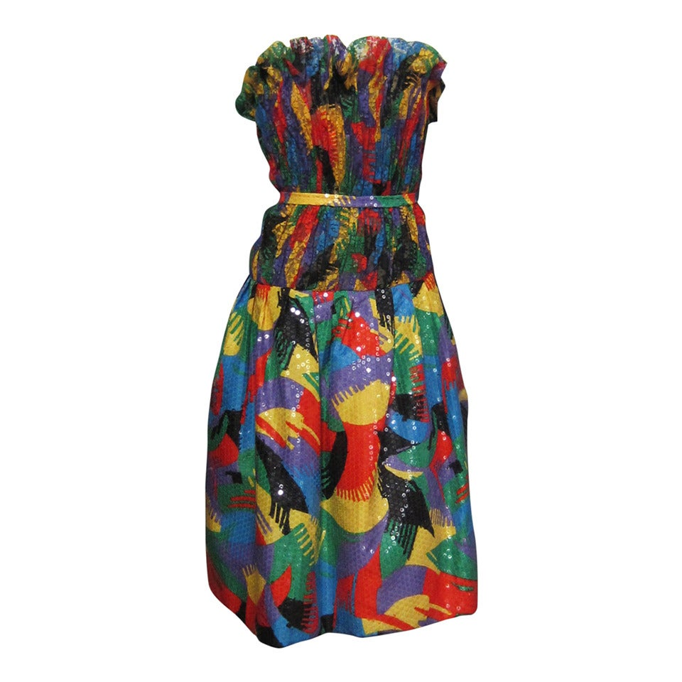 SCAASI Multi Color Lace and Sequin Cocktail Dress For Sale