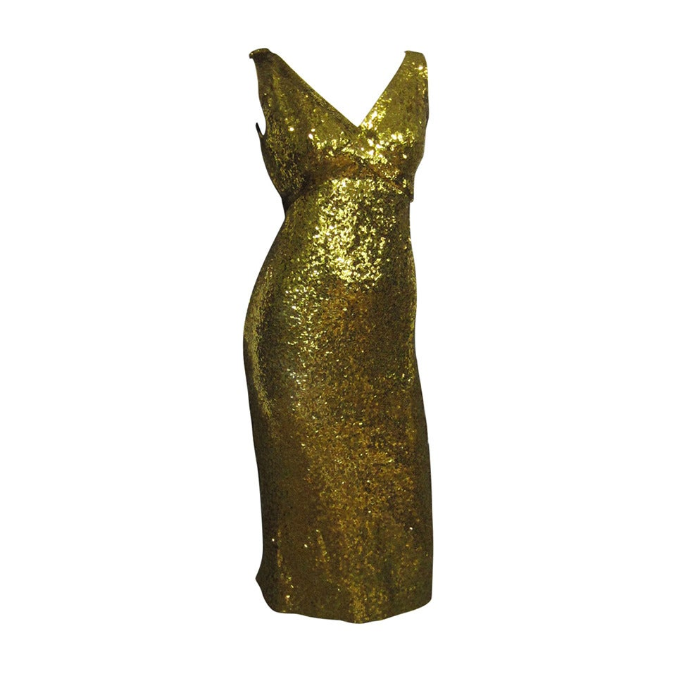 LILLIE RUBIN Sequin Knit Fitted Cocktail Dress For Sale