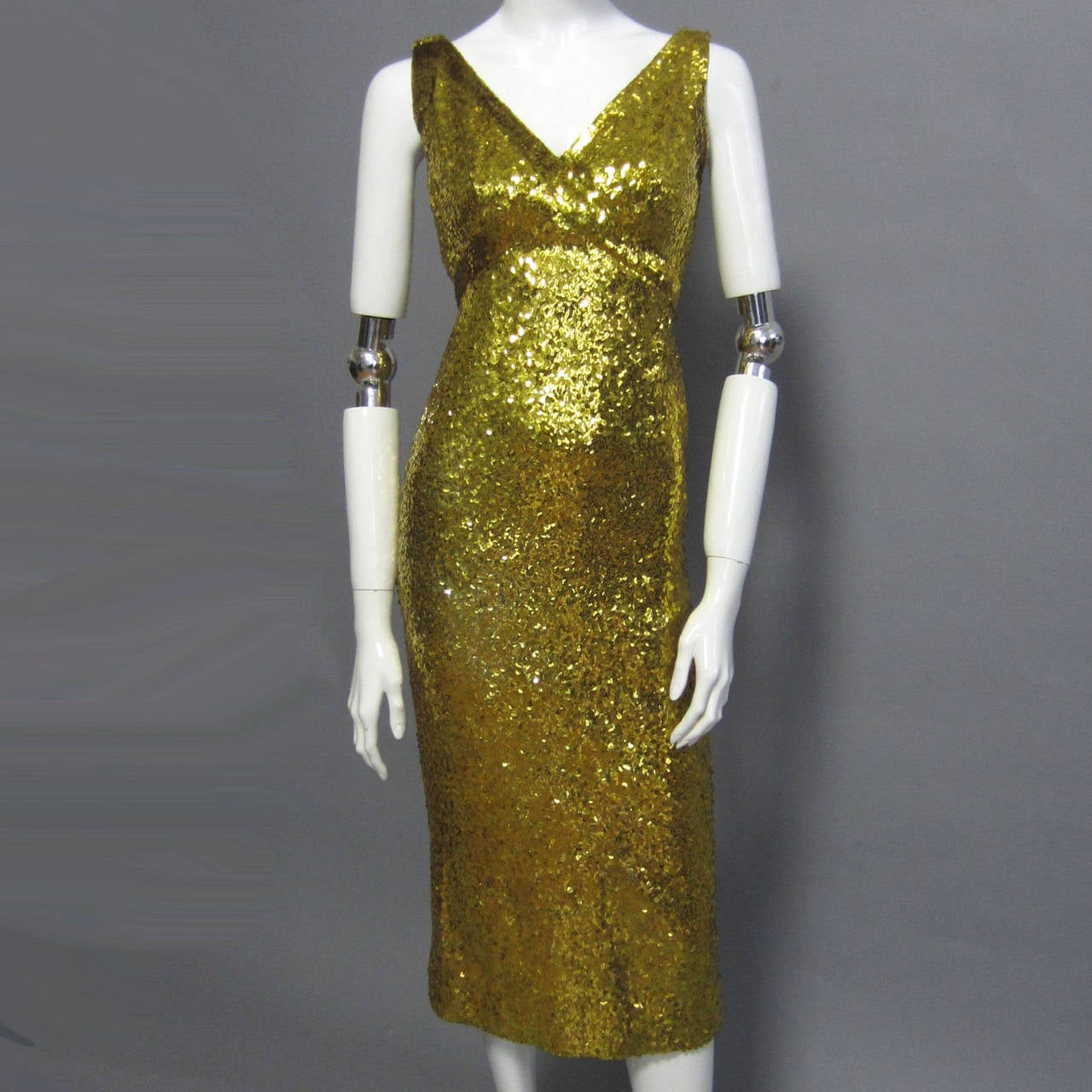 Brown LILLIE RUBIN Sequin Knit Fitted Cocktail Dress For Sale