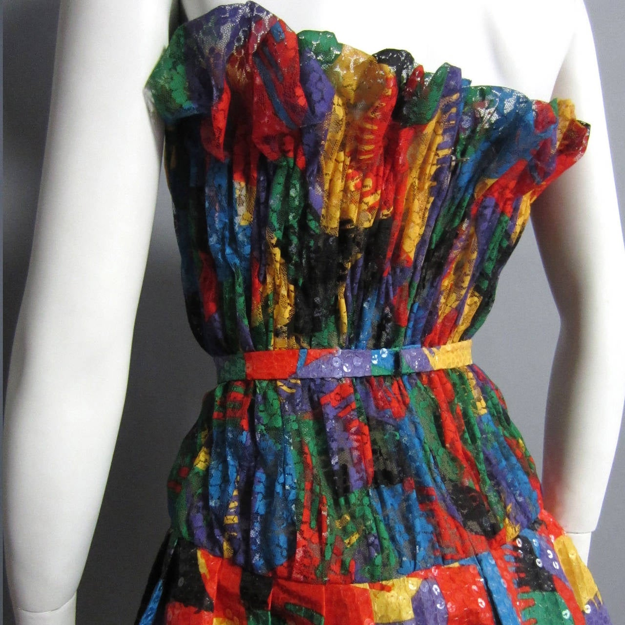 Women's SCAASI Multi Color Lace and Sequin Cocktail Dress For Sale