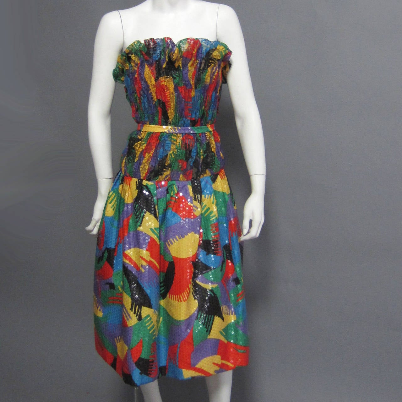 SCAASI Multi Color Lace and Sequin Cocktail Dress For Sale 1