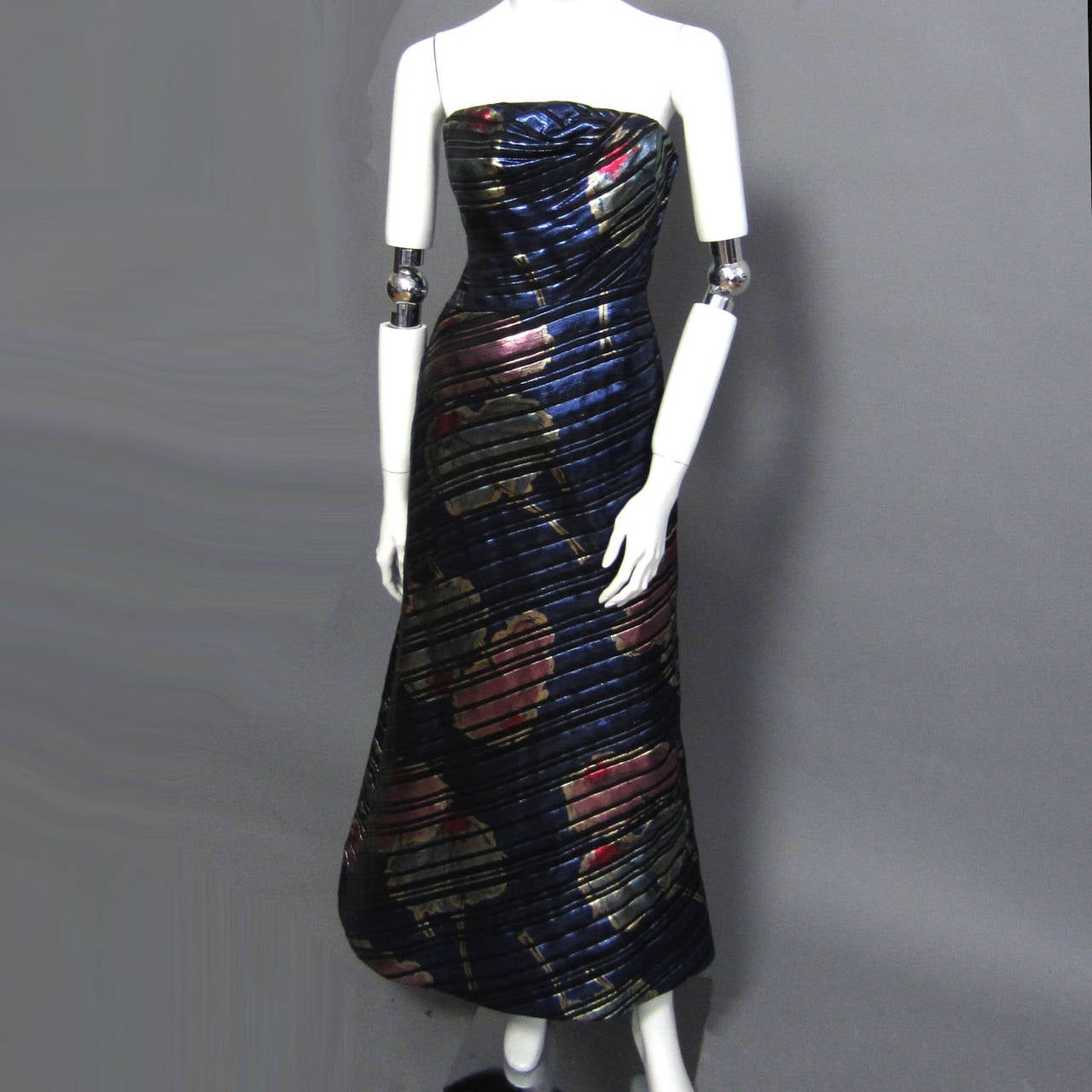SCAASI Stunning Metallic & Floral Print Gown For Sale 1