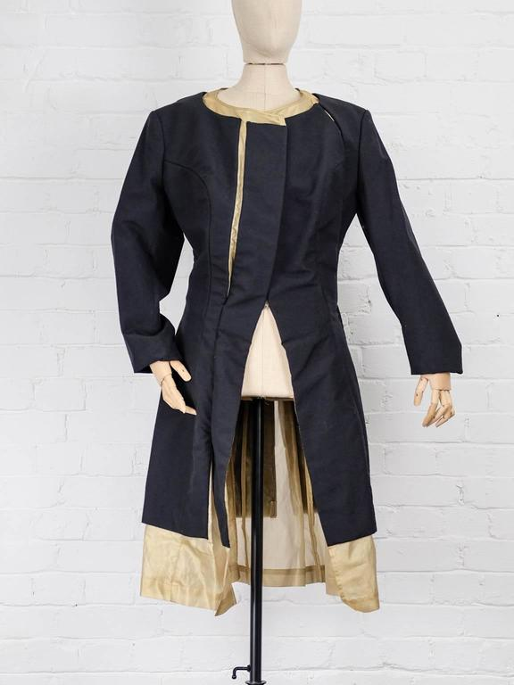 1997 COMME des GARÇONS Rei Kawakubo black and gold layered coat jacket 2