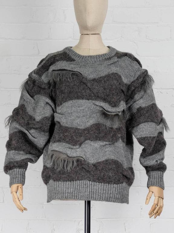 1980s ISSEY MIYAKE two piece striped jumper with fur trims and shawl In Excellent Condition For Sale In London, GB