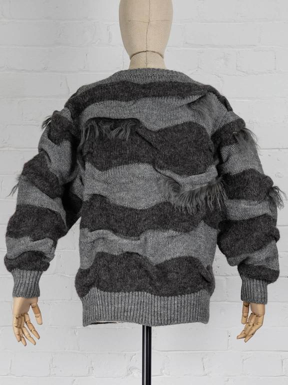Women's 1980s ISSEY MIYAKE two piece striped jumper with fur trims and shawl For Sale