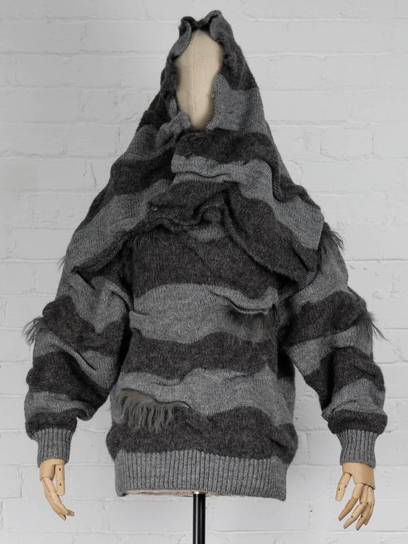 Gray 1980s ISSEY MIYAKE two piece striped jumper with fur trims and shawl For Sale