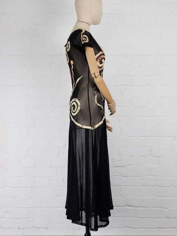 1989 JEAN PAUL GAULTIER appliqué sheer dress ( Vogue UK Madonna 1989 cover ) In New never worn Condition For Sale In London, GB