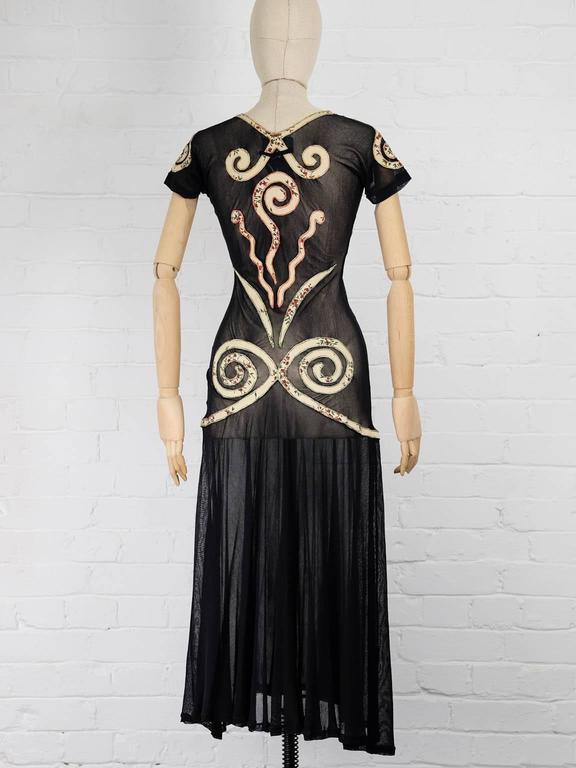 Women's 1989 JEAN PAUL GAULTIER appliqué sheer dress ( Vogue UK Madonna 1989 cover ) For Sale