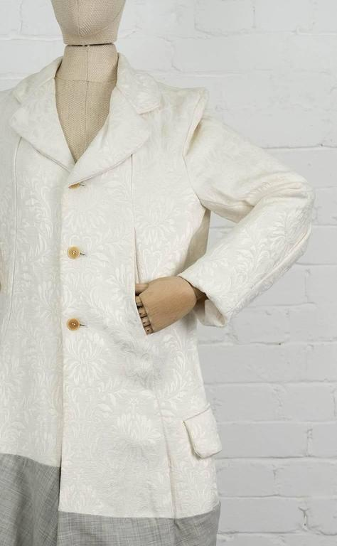 Beige 1993  COMME DES GARÇONS Contrast hem jacquard coat For Sale