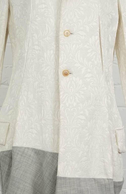 1993  COMME DES GARÇONS Contrast hem jacquard coat For Sale 1