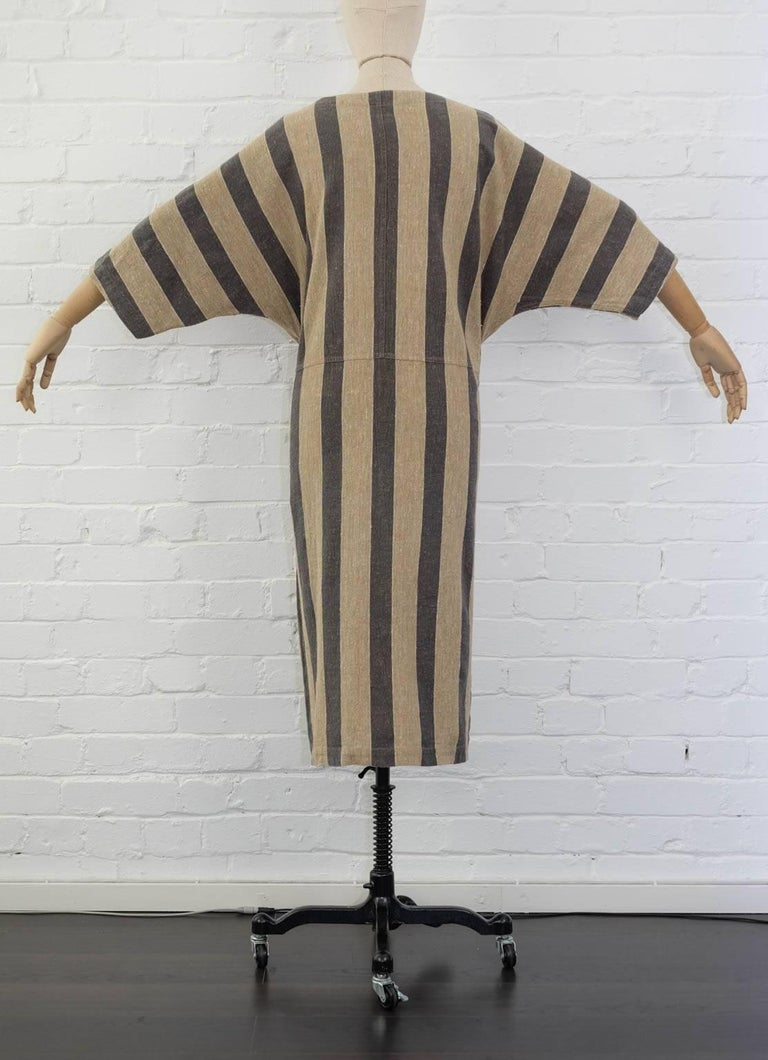 Issey Miyake Plantation Khaki Striped Woven Dress, Circa 1980's In Excellent Condition For Sale In London, GB