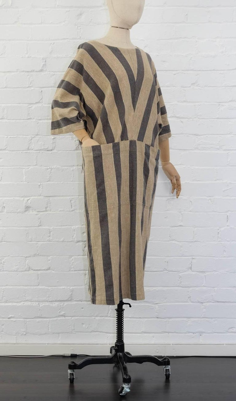 Brown Issey Miyake Plantation Khaki Striped Woven Dress, Circa 1980's For Sale