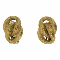 Christian Dior 1980s Gold Tone Knot Vintage Earrings