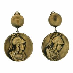 Joseff of Hollywood 1940s Russian Gold Plate Britannia Vintage Earrings