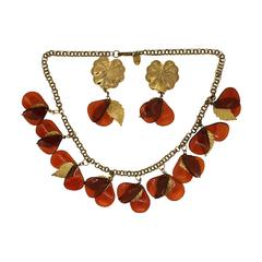 Miriam Haskell 1970s Lucite and Gilt Metal Vintage Necklace and Earrings Set