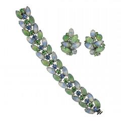 Kramer 1960s Blue and Green Rhinestone Vintage Jewellery Set