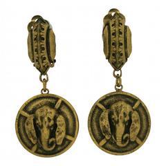 Joseff of Hollywood 1940s Vintage Elephant Earrings