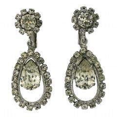 Napier 1950s Rhinestone Vintage Earrings